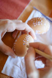 Ostern-Dekorationseier, Wachs. Stockfotos