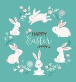 Ostern-Design mit nettem banny und simsen, übergeben gezogene Illustration Stockfoto