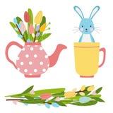 Ostern-Elemente für die Frühlingszeit gemacht vom Blumenblumenstrauß und vom Topf des rosa Tees mit Tulpen und Weide vektor abbildung