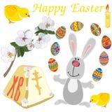 Ostern-Elementsatz: nettes Kaninchen, Huhn, zarte blühende Niederlassung, Kerze, gemalte Eier lokalisiert auf weißem Hintergrund stock abbildung