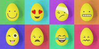 Ostern-emoji Eier auf einem bunten Hintergrund von Quadraten lizenzfreie abbildung
