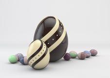 Ostern färbte Schokoladeneier Stockfotografie