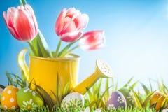 Ostern-Feiertag mit Tulpenblumen und -ei im Gras Stockfotografie