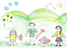 Ostern-Feiertag Zeichnung des Kindes Lizenzfreies Stockbild