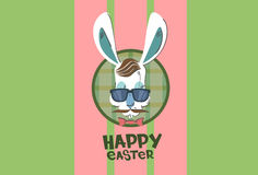 Ostern-Feiertags-Kaninchen Bunny Hipster Style Mustache Glasses lizenzfreies stockfoto