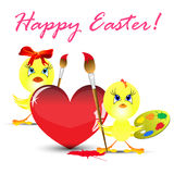 Ostern-Feiertagsabbildung mit Huhn Lizenzfreies Stockfoto