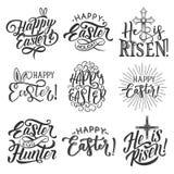 Ostern-Feiertagsausweis des Eies, des Hasenohrs und des Kreuzes Lizenzfreies Stockbild