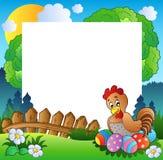 Ostern-Feld mit Henne und Eiern Stockbilder