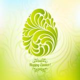 Ostern-Frühlingsgrünhintergrund mit abstraktem aufwändigem Ei Stockfotos