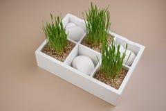 Ostern-Frühlingsdekoration mit Gras und weißen Eiern Lizenzfreies Stockbild