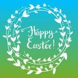 Ostern-Grußkarte des Handdrawn Vektors glückliche mit handgeschriebenem tex Lizenzfreie Stockfotografie