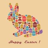 Ostern-Grußkarte mit Häschen und Eiern Lizenzfreies Stockbild