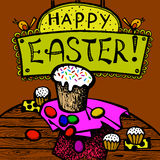 Ostern-Grußpostkarten-Handzeichnung Stockbild