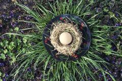 Ostern-Hühnerei im Vogelnest Lizenzfreies Stockfoto