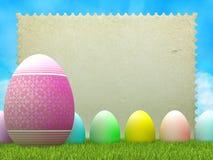 Ostern-Hintergrund - Eier und Papierblatt stock abbildung
