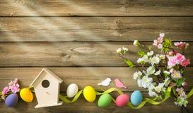 Ostern-Hintergrund mit bunten Eiern und Frühling blüht stockbilder