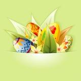 Ostern-Hintergrund mit den Eiern eingehangen in Tasche Stockbild