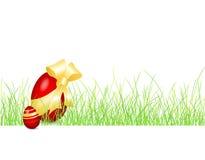 Ostern-Hintergrund mit Ei im Gras Stockfotos