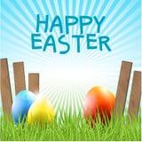 Ostern-Hintergrund mit Eiern und Gras Stockbilder