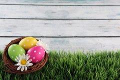 Ostern-Hintergrund mit Gras Stockbild