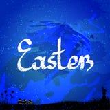 Ostern-Hintergrund, mit Osterhasen und Eiern Netter Ostern-Flieger, Karte Lizenzfreies Stockfoto