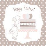 Ostern-Illustration mit Häschen und Kuchen vektor abbildung