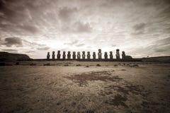 Ostern-Insel Moai Köpfe Stockfotografie
