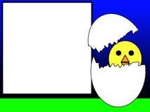 Ostern-Küken mit unbelegtem Zeichen Stockfoto