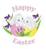 Ostern-Kaninchen auf weißem Hintergrund Lizenzfreie Stockfotografie