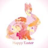 Ostern-Kaninchen mit Blumen Lizenzfreie Stockbilder