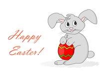 Ostern-Kaninchen mit Ei Glückliche Ostern-Karte - Vektor-Illustration Stockbilder
