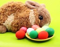 Ostern-Kaninchen mit Eiern auf Grün Stockfotografie