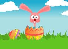 Ostern-Kaninchen und Ei stock abbildung