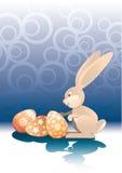 Ostern-Kaninchen und Eier stock abbildung