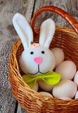 Ostern-Kaninchen und -eier im Korb Stockfoto