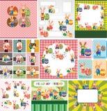 Ostern-Kaninchen- und Eikarte Lizenzfreies Stockbild