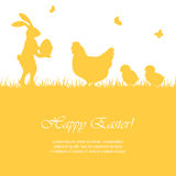 Ostern-Kaninchen und -hühner Lizenzfreies Stockbild