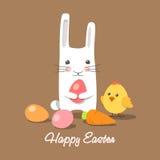 Ostern-Kaninchen und -küken mit Ostereiern Stockfoto