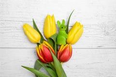 Ostern-Kaninchen und -tulpen über hölzernem Hintergrund Stockbilder