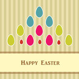 Ostern-Karte mit bunten Eiern Stockfoto