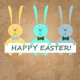 Ostern-Karte mit bunten Kaninchen Stock Abbildung