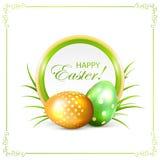 Ostern-Karte mit den grünen und goldenen Eiern Stockfotografie