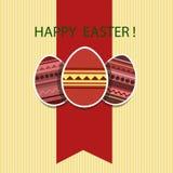 Ostern-Karte mit farbigen Eiern Stockbilder