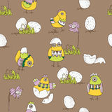 Ostern-Karte mit Küken und Eiern Stockbilder