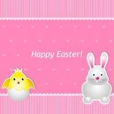 Ostern-Karte mit Küken und Hasen Stockbild