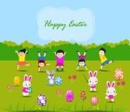 Ostern-Karte mit Kindern und Kaninchen Stockbild