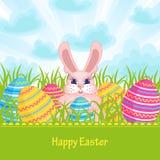 Ostern-Karte mit Osterhasen und Eiern Stockfotografie
