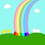 Ostern-Karte mit Regenbogen Stockbild