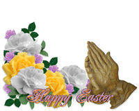 Ostern-Karten-Rosen, die Hände beten Stockbild