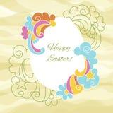 Ostern-Kartenei mit Wünschen für fröhlichen Ostern Lizenzfreies Stockfoto